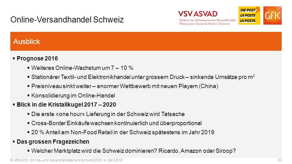 30© GfK 2016 | Online- und Versandhandelsmarkt Schweiz 2015 | 4.