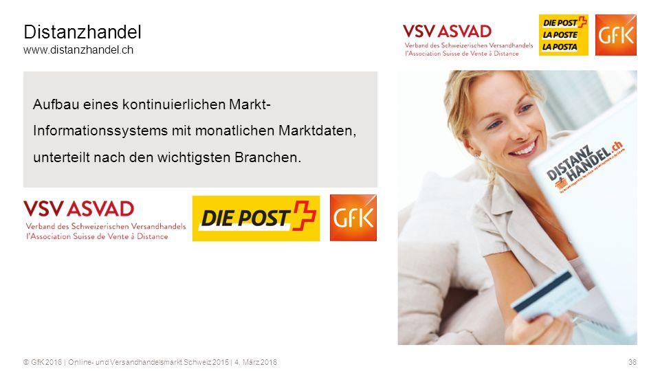 36© GfK 2016 | Online- und Versandhandelsmarkt Schweiz 2015 | 4. März 2016 Distanzhandel www.distanzhandel.ch Aufbau eines kontinuierlichen Markt- Inf