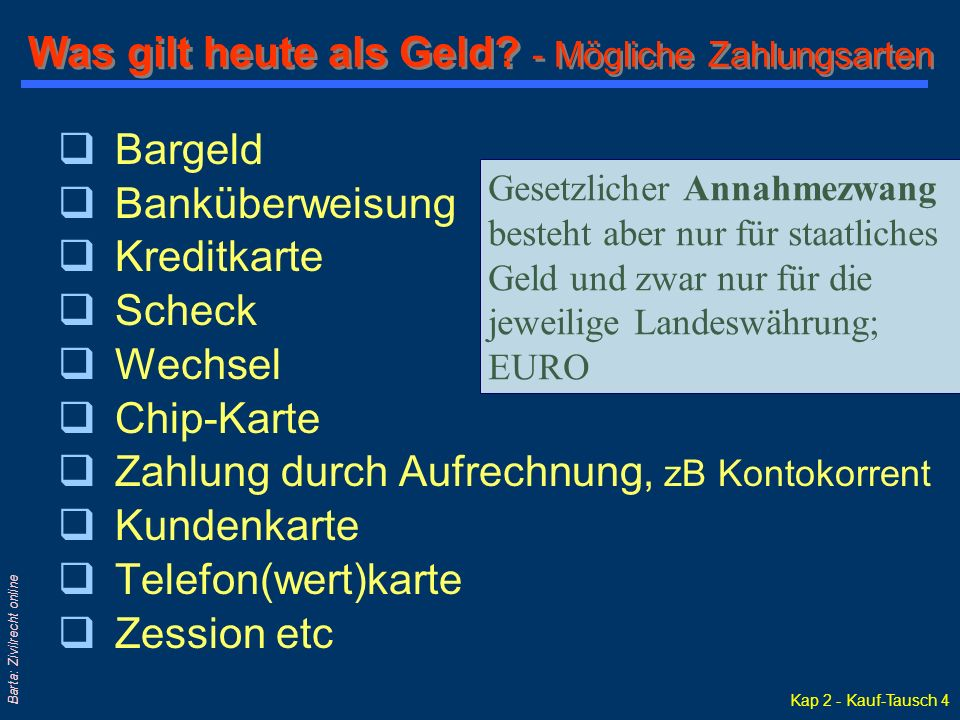 Kap 2 - Kauf-Tausch 4 Barta: Zivilrecht online Was gilt heute als Geld.