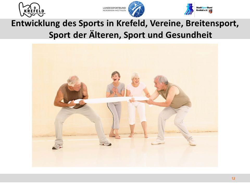 12 Entwicklung des Sports in Krefeld, Vereine, Breitensport, Sport der Älteren, Sport und Gesundheit