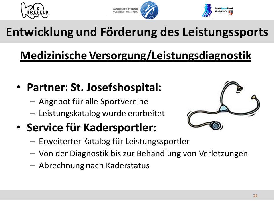 21 Entwicklung und Förderung des Leistungssports Medizinische Versorgung/Leistungsdiagnostik Partner: St.