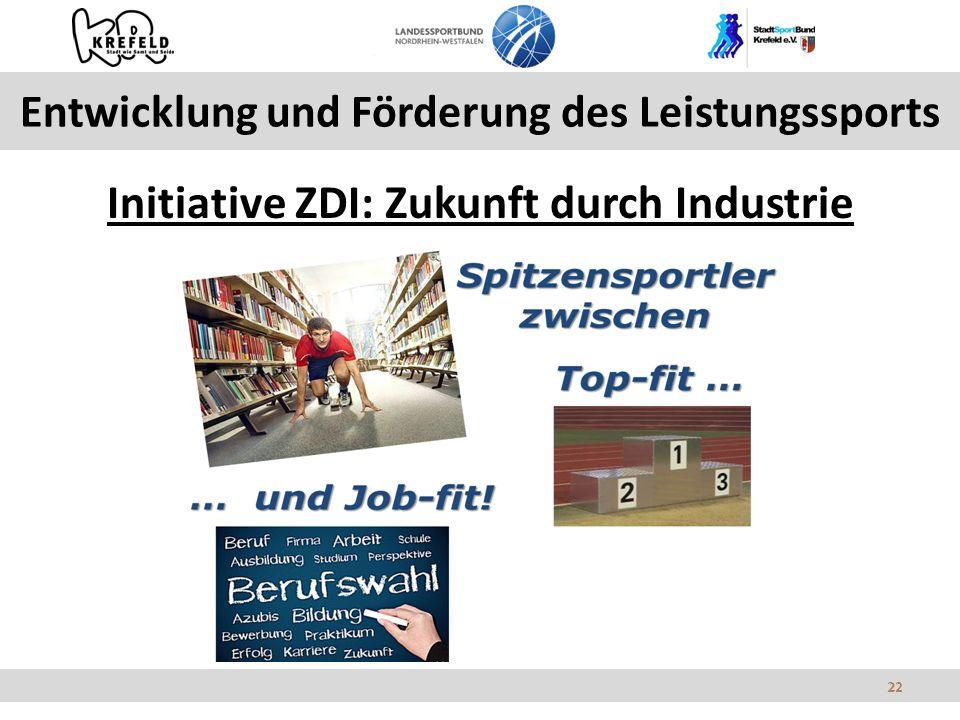22 Entwicklung und Förderung des Leistungssports Initiative ZDI: Zukunft durch Industrie 22