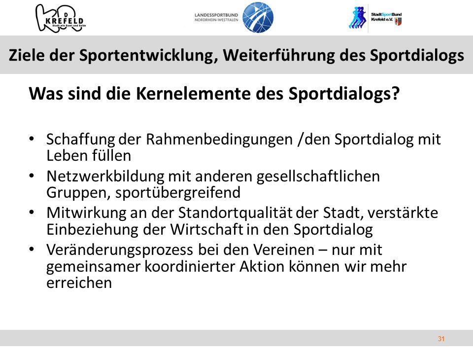 31 Ziele der Sportentwicklung, Weiterführung des Sportdialogs Was sind die Kernelemente des Sportdialogs.