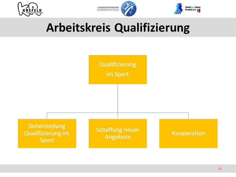 43 Arbeitskreis Qualifizierung Qualifizierung im Sport Sicherstellung Qualifizierung im Sport Schaffung neuer Angebote Kooperation