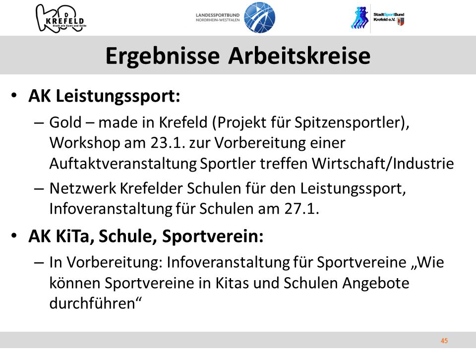 45 Ergebnisse Arbeitskreise AK Leistungssport: – Gold – made in Krefeld (Projekt für Spitzensportler), Workshop am 23.1.