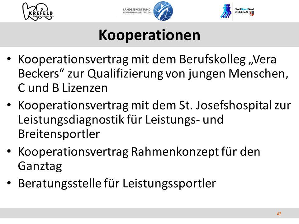 """47 Kooperationen Kooperationsvertrag mit dem Berufskolleg """"Vera Beckers zur Qualifizierung von jungen Menschen, C und B Lizenzen Kooperationsvertrag mit dem St."""