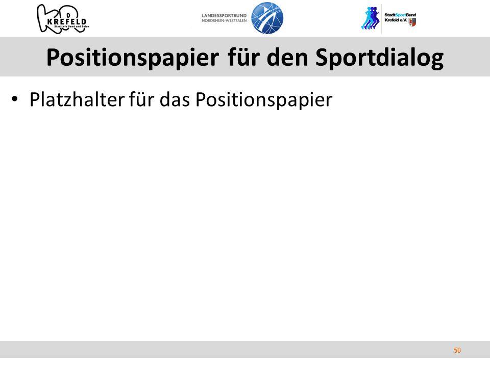 50 Positionspapier für den Sportdialog Platzhalter für das Positionspapier