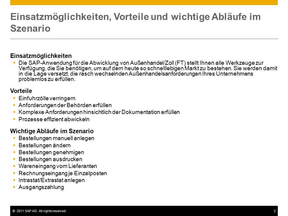 ©2011 SAP AG. All rights reserved.2 Einsatzmöglichkeiten, Vorteile und wichtige Abläufe im Szenario Einsatzmöglichkeiten  Die SAP-Anwendung für die A