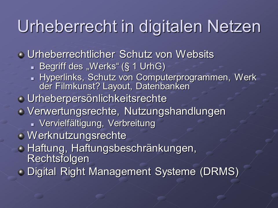 """Urheberrecht in digitalen Netzen Urheberrechtlicher Schutz von Websits Begriff des """"Werks (§ 1 UrhG) Begriff des """"Werks (§ 1 UrhG) Hyperlinks, Schutz von Computerprogrammen, Werk der Filmkunst."""