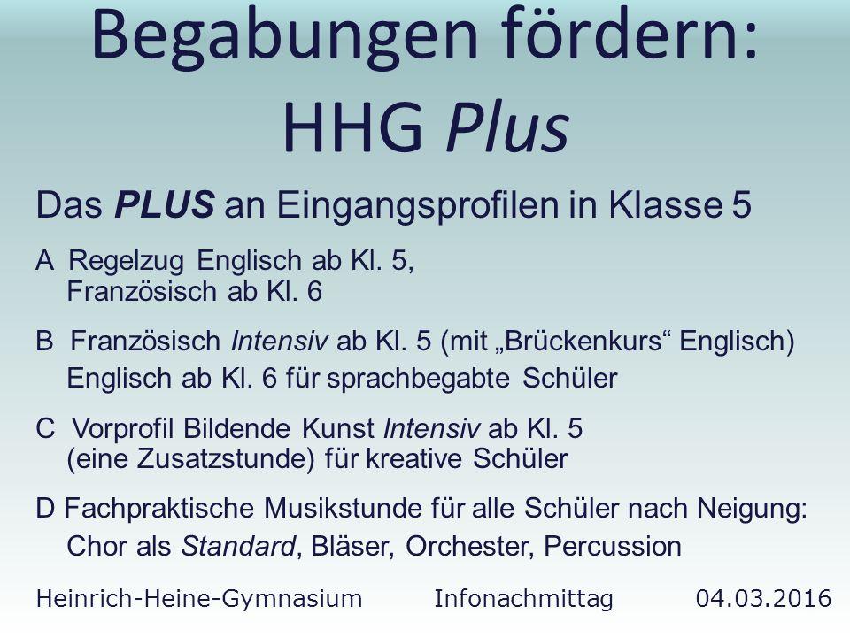 Heinrich-Heine-Gymnasium Infonachmittag 04.03.2016 Begabungen fördern: HHG Plus Das PLUS an Eingangsprofilen in Klasse 5 A Regelzug Englisch ab Kl. 5,