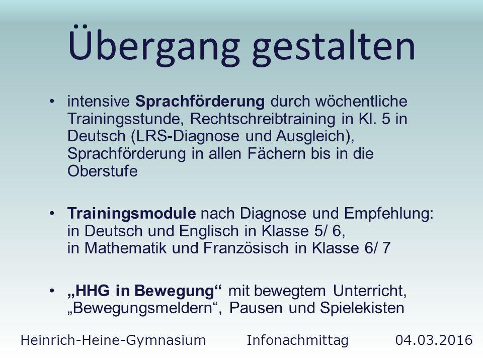 Heinrich-Heine-Gymnasium Infonachmittag 04.03.2016 Übergang gestalten intensive Sprachförderung durch wöchentliche Trainingsstunde, Rechtschreibtraini
