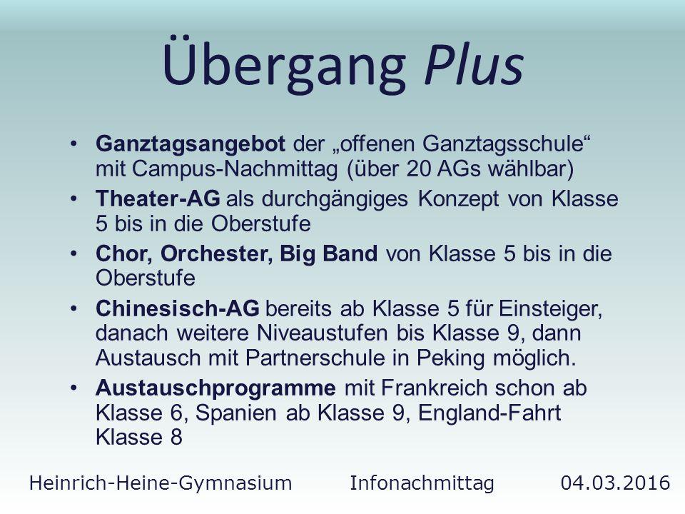 """Heinrich-Heine-Gymnasium Infonachmittag 04.03.2016 Übergang Plus Ganztagsangebot der """"offenen Ganztagsschule"""" mit Campus-Nachmittag (über 20 AGs wählb"""