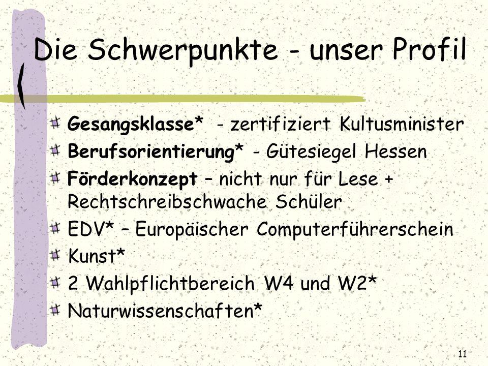 Die Schwerpunkte - unser Profil Gesangsklasse* - zertifiziert Kultusminister Berufsorientierung* - Gütesiegel Hessen Förderkonzept – nicht nur für Les