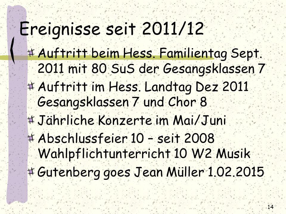 Ereignisse seit 2011/12 Auftritt beim Hess. Familientag Sept. 2011 mit 80 SuS der Gesangsklassen 7 Auftritt im Hess. Landtag Dez 2011 Gesangsklassen 7