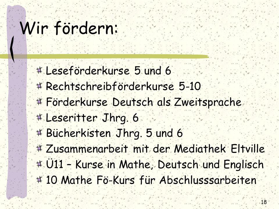 Wir fördern: Leseförderkurse 5 und 6 Rechtschreibförderkurse 5-10 Förderkurse Deutsch als Zweitsprache Leseritter Jhrg. 6 Bücherkisten Jhrg. 5 und 6 Z