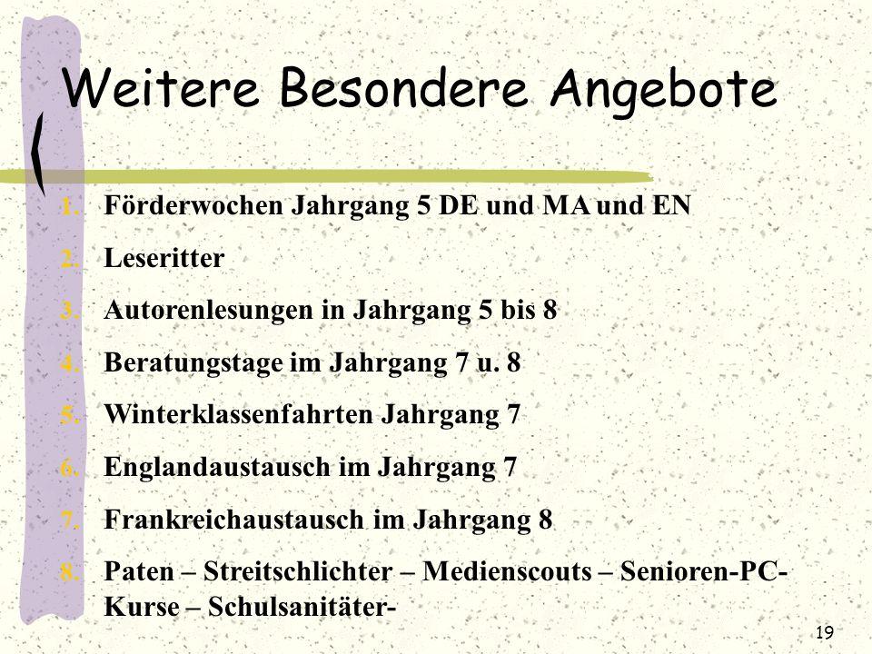 1. Förderwochen Jahrgang 5 DE und MA und EN 2. Leseritter 3. Autorenlesungen in Jahrgang 5 bis 8 4. Beratungstage im Jahrgang 7 u. 8 5. Winterklassenf