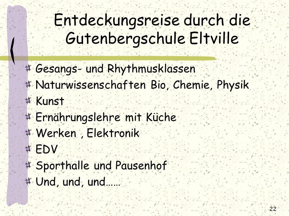Entdeckungsreise durch die Gutenbergschule Eltville Gesangs- und Rhythmusklassen Naturwissenschaften Bio, Chemie, Physik Kunst Ernährungslehre mit Küc