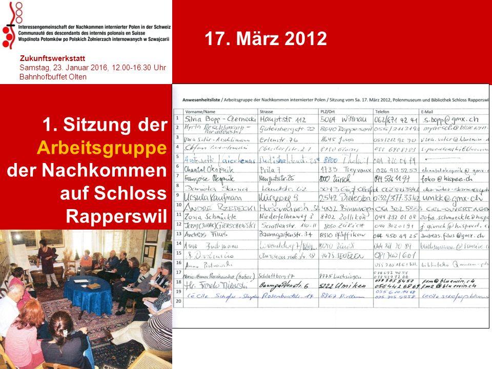 1. Sitzung der Arbeitsgruppe der Nachkommen auf Schloss Rapperswil 1 T 10.30-12.00 Uhr 17. März 2012 hhjhjhjhjhj Zukunftswerkstatt Samstag, 23. Januar