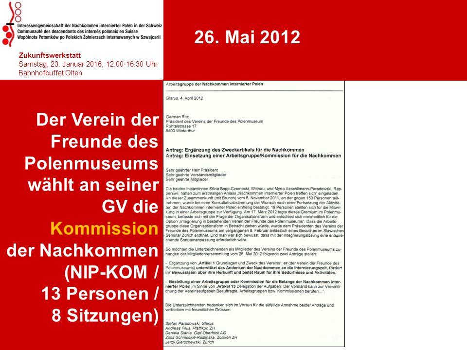 Der Verein der Freunde des Polenmuseums wählt an seiner GV die Kommission der Nachkommen (NIP-KOM / 13 Personen / 8 Sitzungen) 1 hhjhjhjhjhj Zukunftsw