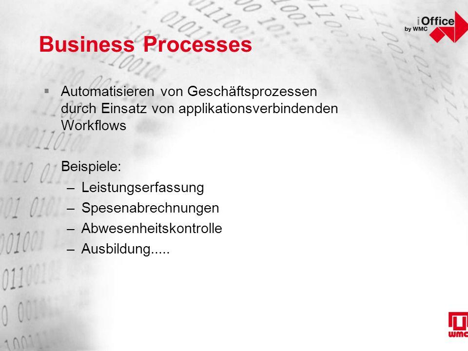Business Processes  Automatisieren von Geschäftsprozessen durch Einsatz von applikationsverbindenden Workflows Beispiele: –Leistungserfassung –Spesenabrechnungen –Abwesenheitskontrolle –Ausbildung.....