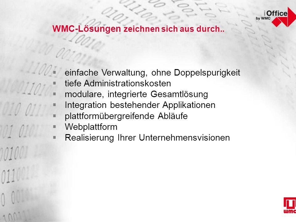 WMC-Lösungen zeichnen sich aus durch..  einfache Verwaltung, ohne Doppelspurigkeit  tiefe Administrationskosten  modulare, integrierte Gesamtlösung