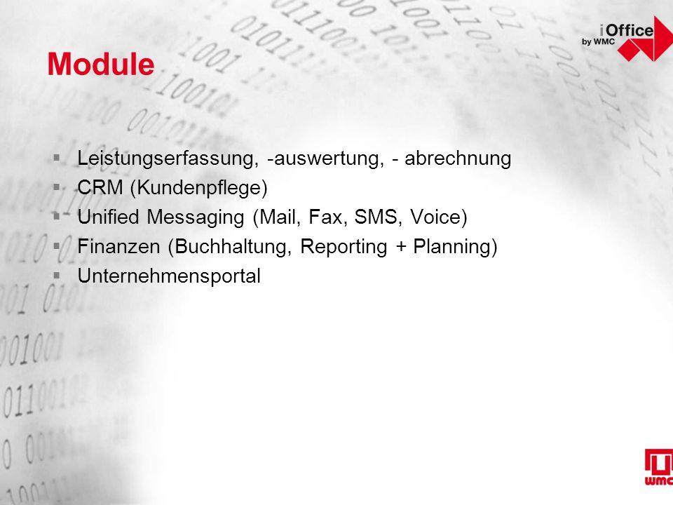 Module  Leistungserfassung, -auswertung, - abrechnung  CRM (Kundenpflege)  Unified Messaging (Mail, Fax, SMS, Voice)  Finanzen (Buchhaltung, Reporting + Planning)  Unternehmensportal