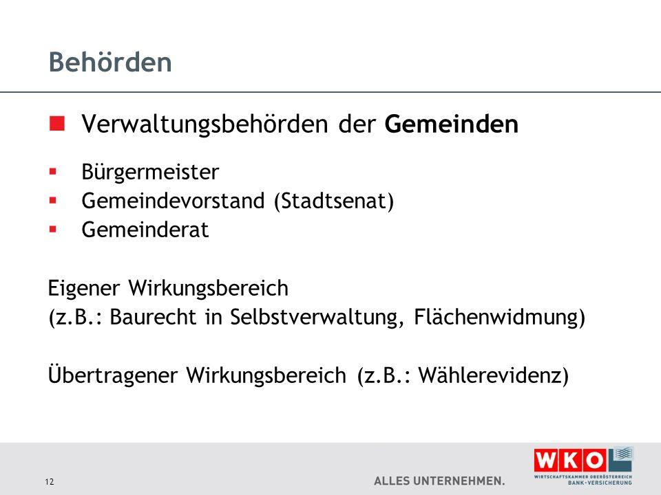 Behörden Verwaltungsbehörden der Gemeinden  Bürgermeister  Gemeindevorstand (Stadtsenat)  Gemeinderat Eigener Wirkungsbereich (z.B.: Baurecht in Se