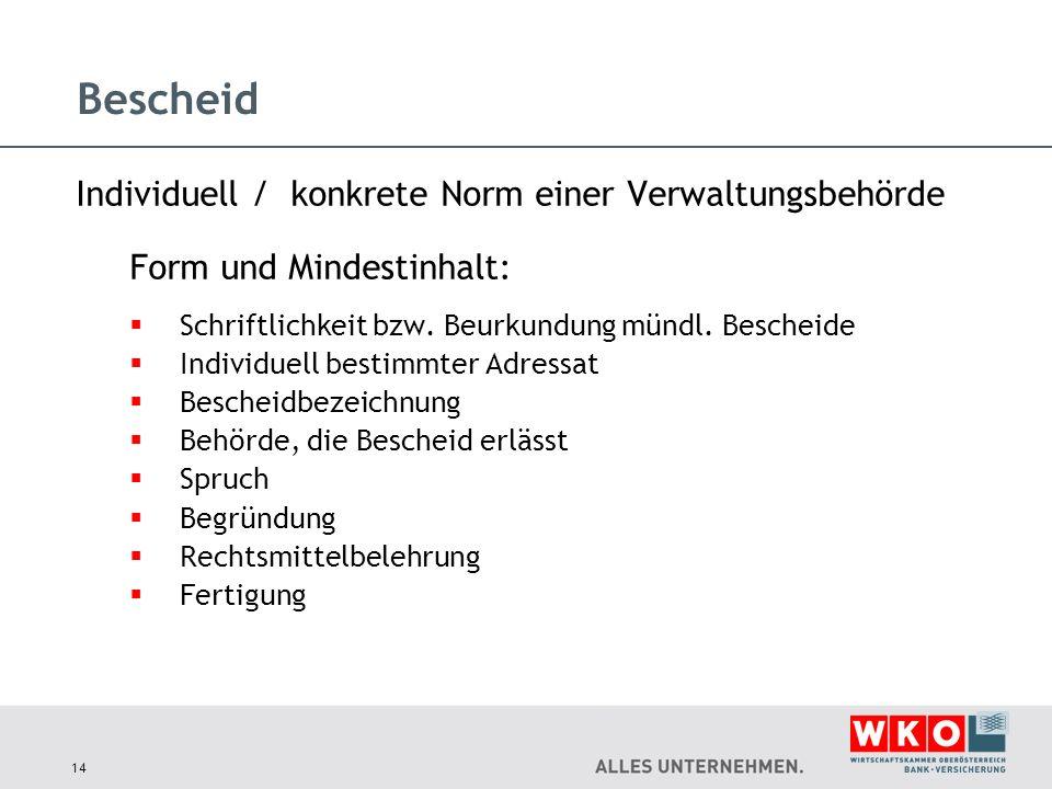 Bescheid Individuell / konkrete Norm einer Verwaltungsbehörde Form und Mindestinhalt:  Schriftlichkeit bzw. Beurkundung mündl. Bescheide  Individuel