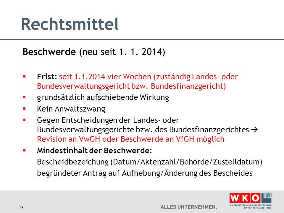 Rechtsmittel Beschwerde (neu seit 1. 1. 2014)  Frist: seit 1.1.2014 vier Wochen (zuständig Landes- oder Bundesverwaltungsgericht bzw. Bundesfinanzger