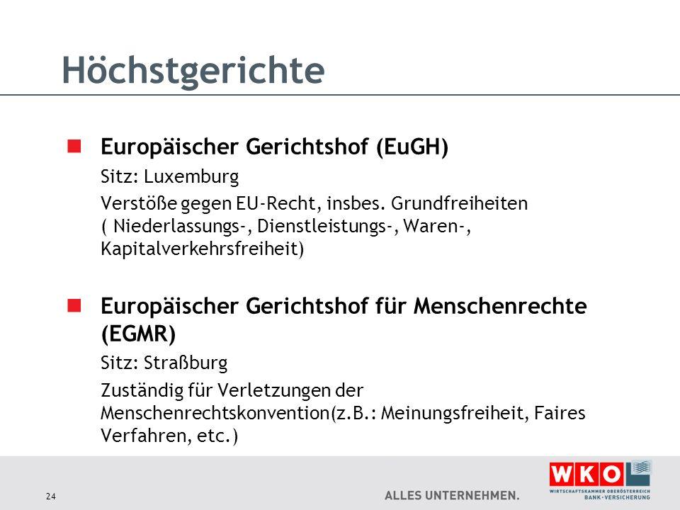 Europäischer Gerichtshof (EuGH) Sitz: Luxemburg Verstöße gegen EU-Recht, insbes. Grundfreiheiten ( Niederlassungs-, Dienstleistungs-, Waren-, Kapitalv