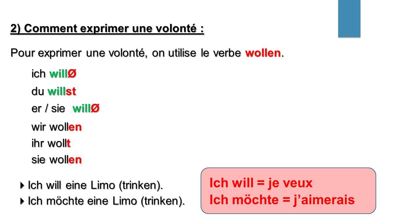 2) Comment exprimer une volonté : Pour exprimer une volonté, on utilise le verbe wollen.