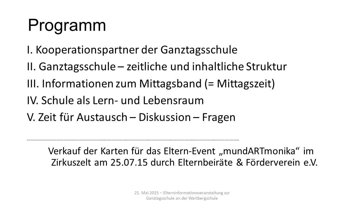 Programm I. Kooperationspartner der Ganztagsschule II.