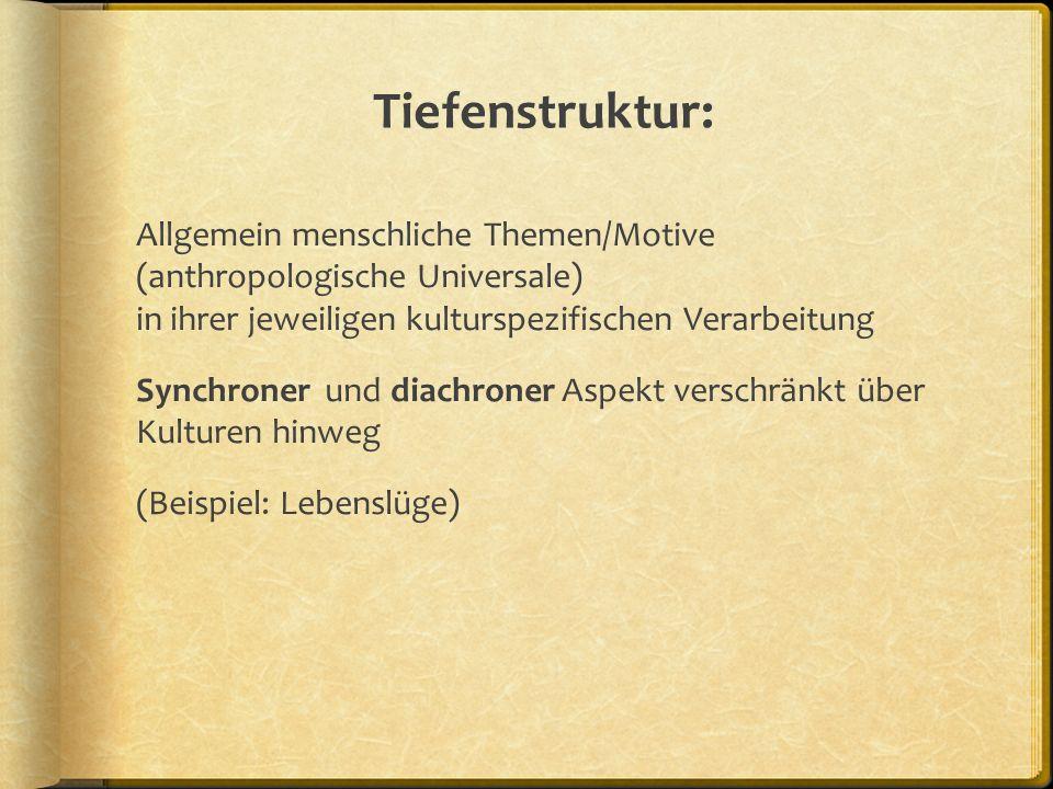 Tiefenstruktur: Allgemein menschliche Themen/Motive (anthropologische Universale) in ihrer jeweiligen kulturspezifischen Verarbeitung Synchroner und diachroner Aspekt verschränkt über Kulturen hinweg (Beispiel: Lebenslüge)