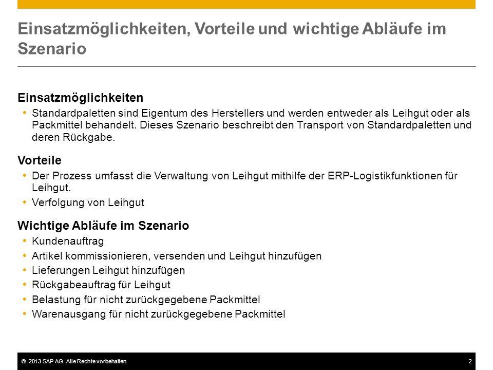 ©2013 SAP AG. Alle Rechte vorbehalten.2 Einsatzmöglichkeiten, Vorteile und wichtige Abläufe im Szenario Einsatzmöglichkeiten  Standardpaletten sind E