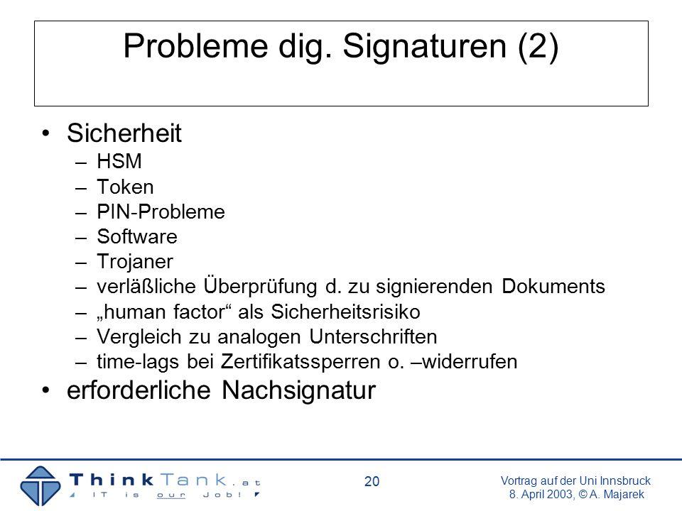 Vortrag auf der Uni Innsbruck 8. April 2003, © A. Majarek 20 Probleme dig. Signaturen (2) Sicherheit –HSM –Token –PIN-Probleme –Software –Trojaner –ve