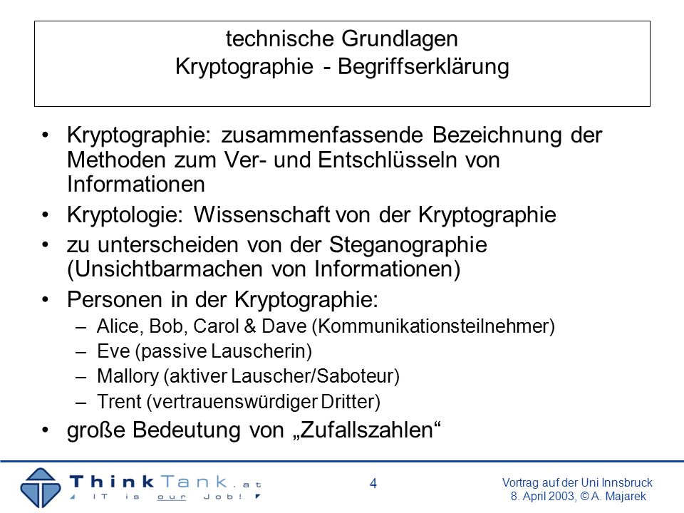 Vortrag auf der Uni Innsbruck 8.April 2003, © A. Majarek 15 die Lage in Österreich Grundlagen u.