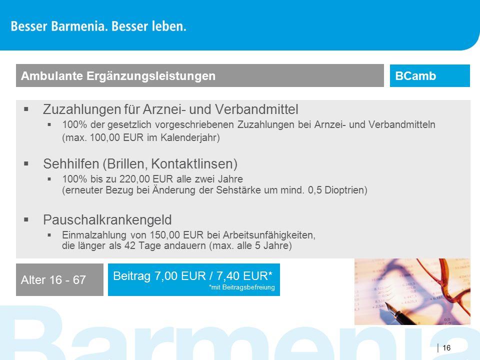  16  Zuzahlungen für Arznei- und Verbandmittel  100% der gesetzlich vorgeschriebenen Zuzahlungen bei Arnzei- und Verbandmitteln (max. 100,00 EUR im