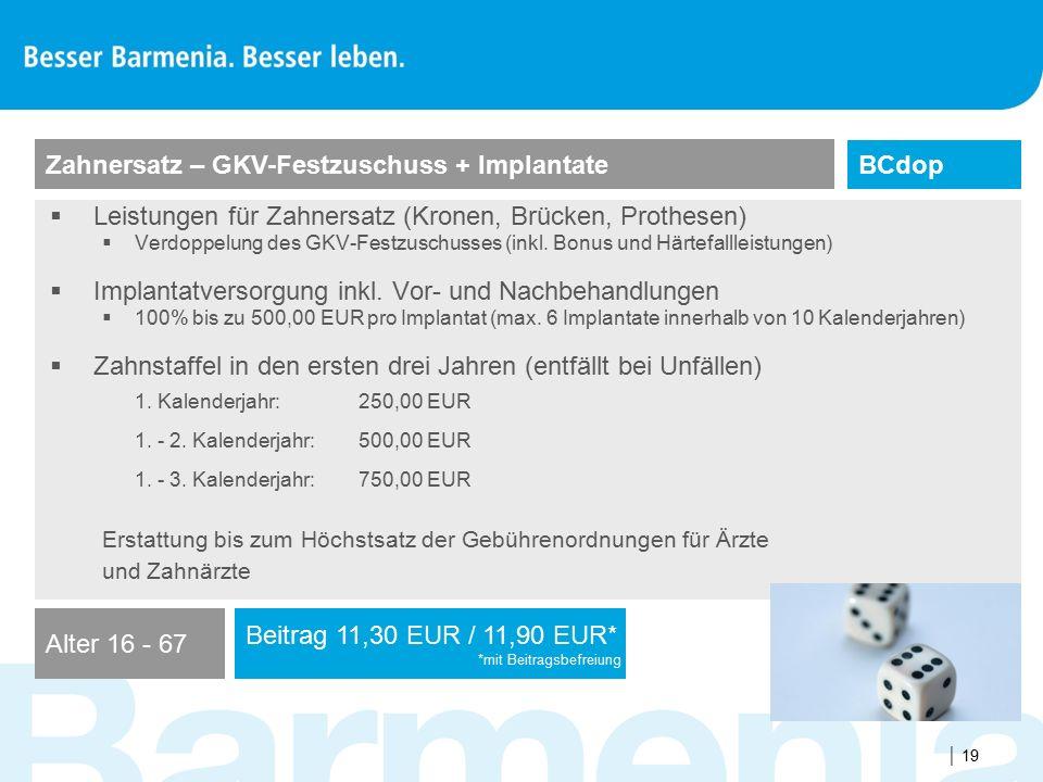  19  Leistungen für Zahnersatz (Kronen, Brücken, Prothesen)  Verdoppelung des GKV-Festzuschusses (inkl. Bonus und Härtefallleistungen)  Implantatv
