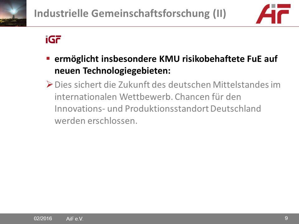  ermöglicht insbesondere KMU risikobehaftete FuE auf neuen Technologiegebieten:  Dies sichert die Zukunft des deutschen Mittelstandes im internationalen Wettbewerb.