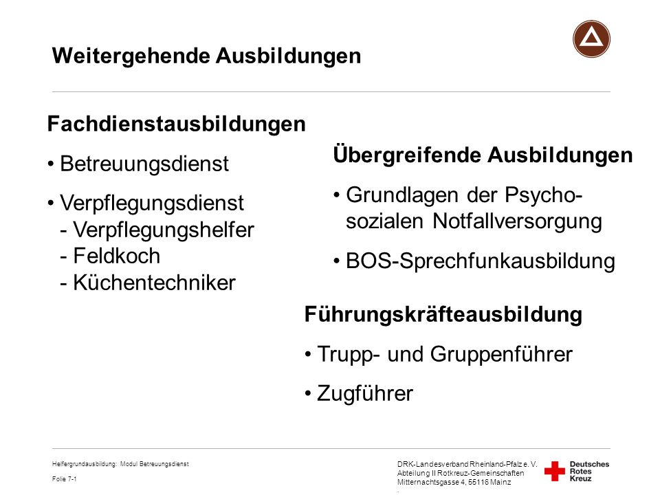 DRK-Landesverband Rheinland-Pfalz e. V. Abteilung II Rotkreuz-Gemeinschaften Mitternachtsgasse 4, 55116 Mainz. Weitergehende Ausbildungen Fachdienstau