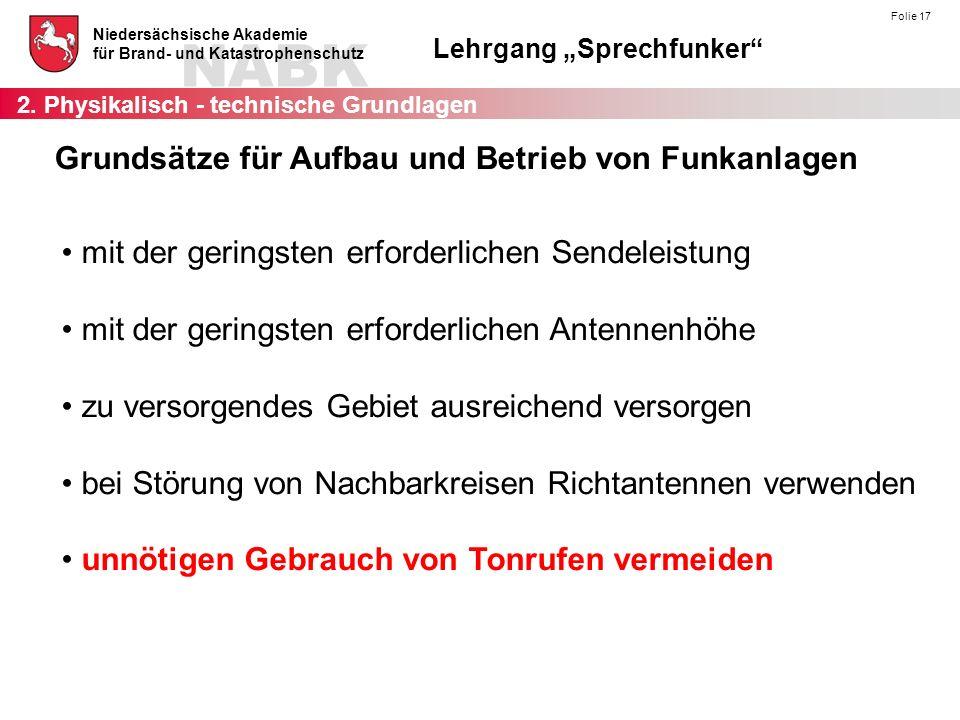 """NABK Niedersächsische Akademie für Brand- und Katastrophenschutz Lehrgang """"Sprechfunker"""" Folie 17 mit der geringsten erforderlichen Sendeleistung mit"""