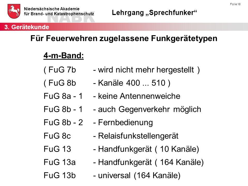 """NABK Niedersächsische Akademie für Brand- und Katastrophenschutz Lehrgang """"Sprechfunker"""" Folie 18 4-m-Band: ( FuG 7b- wird nicht mehr hergestellt ) ("""