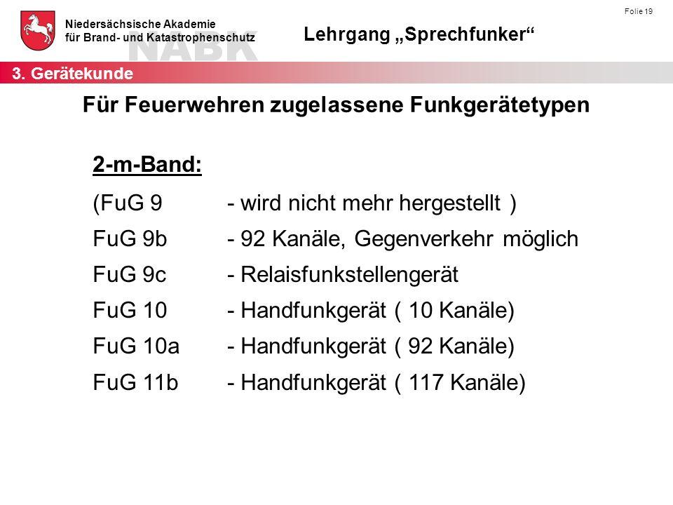 """NABK Niedersächsische Akademie für Brand- und Katastrophenschutz Lehrgang """"Sprechfunker"""" Folie 19 2-m-Band: (FuG 9- wird nicht mehr hergestellt ) FuG"""
