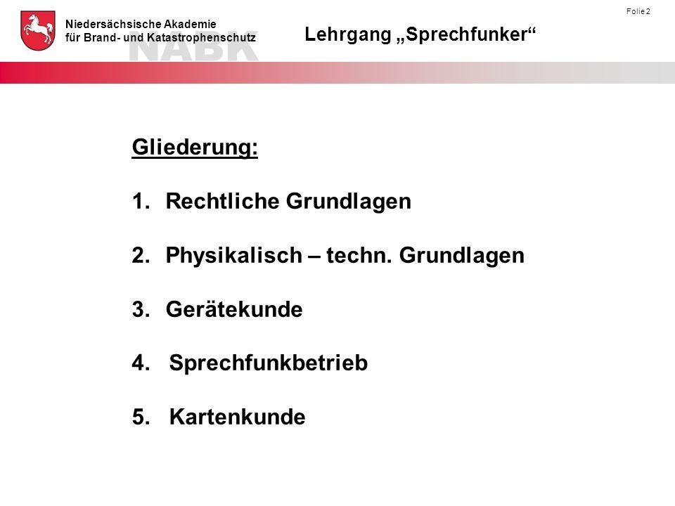 """NABK Niedersächsische Akademie für Brand- und Katastrophenschutz Lehrgang """"Sprechfunker"""" Folie 2 Gliederung: 1.Rechtliche Grundlagen 2.Physikalisch –"""