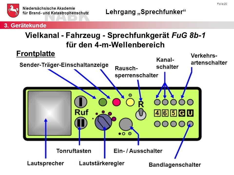 """NABK Niedersächsische Akademie für Brand- und Katastrophenschutz Lehrgang """"Sprechfunker"""" Folie 20 Vielkanal - Fahrzeug - Sprechfunkgerät FuG 8b-1 für"""