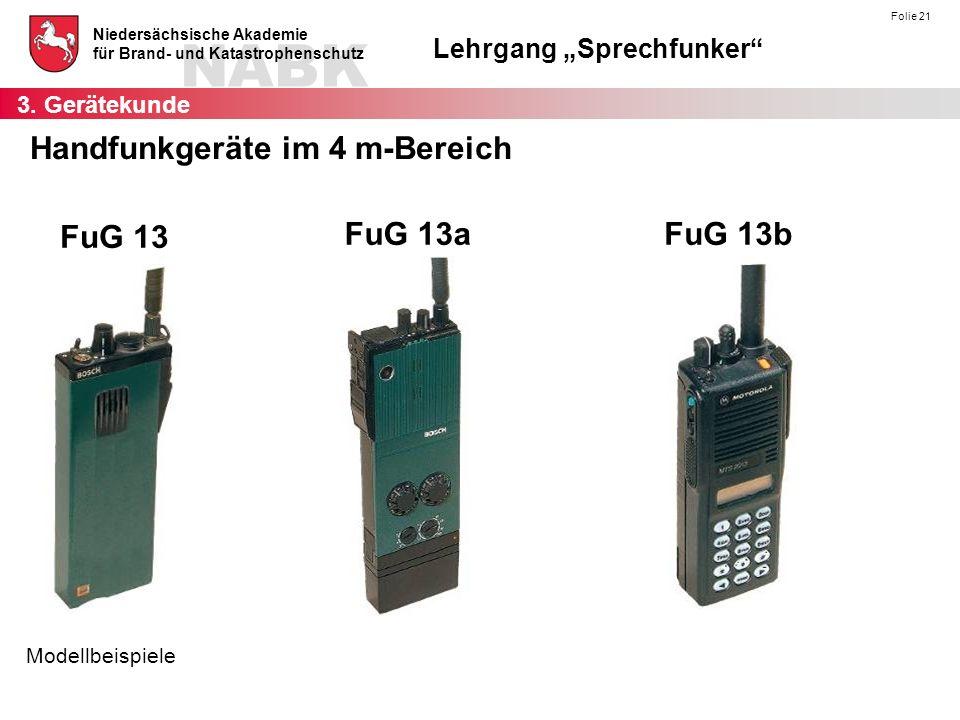 """NABK Niedersächsische Akademie für Brand- und Katastrophenschutz Lehrgang """"Sprechfunker"""" Folie 21 Handfunkgeräte im 4 m-Bereich FuG 13 FuG 13aFuG 13b"""