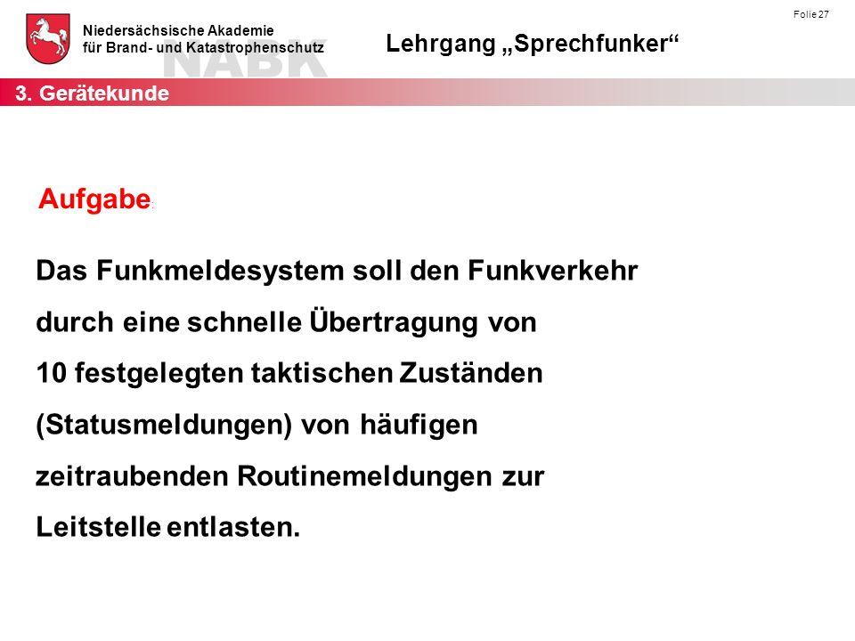 """NABK Niedersächsische Akademie für Brand- und Katastrophenschutz Lehrgang """"Sprechfunker"""" Folie 27 Aufgabe : Das Funkmeldesystem soll den Funkverkehr d"""