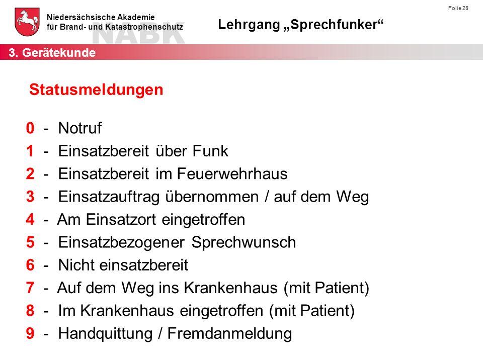 """NABK Niedersächsische Akademie für Brand- und Katastrophenschutz Lehrgang """"Sprechfunker"""" Folie 28 Statusmeldungen 0 - Notruf 4 - Am Einsatzort eingetr"""