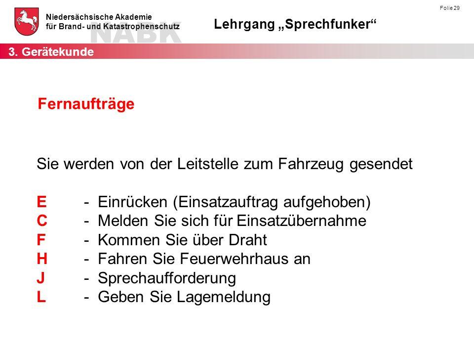 """NABK Niedersächsische Akademie für Brand- und Katastrophenschutz Lehrgang """"Sprechfunker"""" Folie 29 Fernaufträge Sie werden von der Leitstelle zum Fahrz"""
