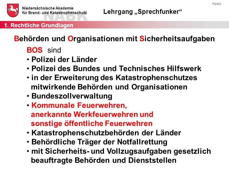 """NABK Niedersächsische Akademie für Brand- und Katastrophenschutz Lehrgang """"Sprechfunker"""" Folie 3 Behörden und Organisationen mit Sicherheitsaufgaben B"""